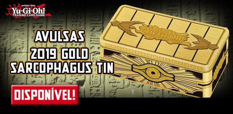 Avulsas Yu-Gi-Oh! 2019 Gold Sarcophagus Tin em inglês disponíveis.